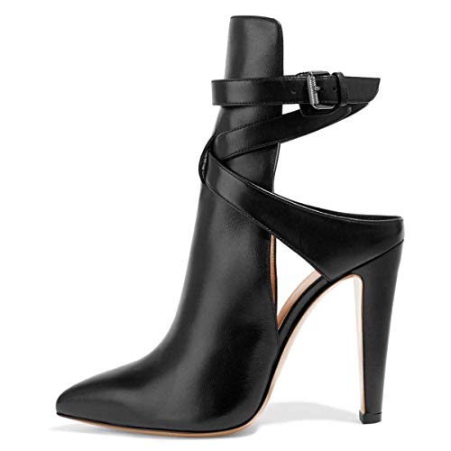 - FSJ Women Pointed Toe Chunky High Heels Strappy Dress Bootie Pumps Ankle Wrap Slingback Sandals Shoes Size 8.5 Black