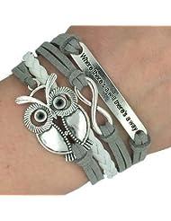 Infinity Love Heart Arrow Owl Friendship Antique Silver Leather Charm Bracelet