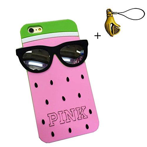 SuperBZ Apple iPhone 6 Plus 3D Watermelon Case , 3D Fruit Design Victoria Secret PINK Watermelon 3D Cute Watermelon with Black Glasses Design Skin Silicone Case Cover for Apple iPhone 6 Plus 5.5
