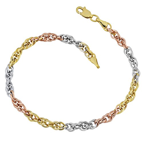 Gold Double Cable - 10k Tricolor Gold Double Cable Link Bracelet (7.25 inch)