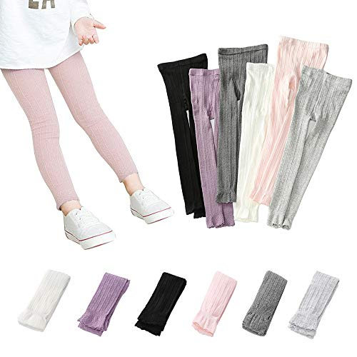 Girls Footless Leggings Knit School Tights Baby Toddler Lace Trim Bootcut Spring/Fall Pants 1-8 Years (Pink, L 5-8 Years)