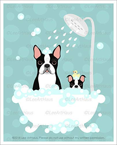538D - Boston Terrier Dog and Puppy in Bubble Bath Bathtub UNFRAMED Wall Art Print by Lee ArtHaus ()