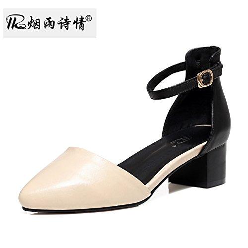 KPHY Medio Tacones Sandalias La Primavera Y El Verano Zapatos De Mujer Hollow Superficial Boca Único Cabeza Puntiaguda Zapatos Zapatos De Tacon Grueso. Beige