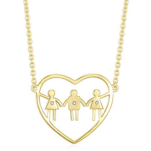 (Choose 1, 2, OR 3 children. 1 Boys + 2 Girls Mom Heart necklace. Best Birthday gift or Mother's Day Present. Personalized Baby Shower idea or Push present for baby boy or girl moms. (1 Boy, 2 Girls))