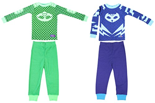 Disney PJ Masks Toddler Gekko Catboy 2 Cotton Sleepwear Set (3T)