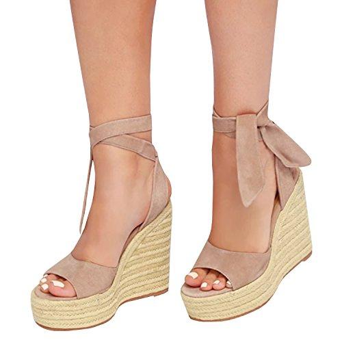 Toe Slingback Wedge - Syktkmx Womens Lace up Platform Wedge Espadrille Heel Peep Toe Slingback D'Orsay Sandals