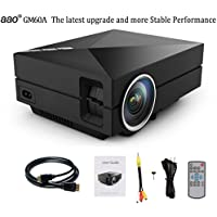 DOHAOOE GM60A MP104 Multimedia Mini LED Projector 800*480 100 Lumen HD ±15°Color Reproduction Home Theater Lumen Private Cinema Support HDMI/VGA/AV/USB/SD Enjoy Video Movie Game- Black