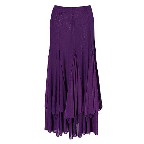 Larga Diseño Para De Ipotch Malla Falda Mujer Latín Bailarinas Tango Flamenco Baile Opción Cuadrado Púrpura gTwISq5S