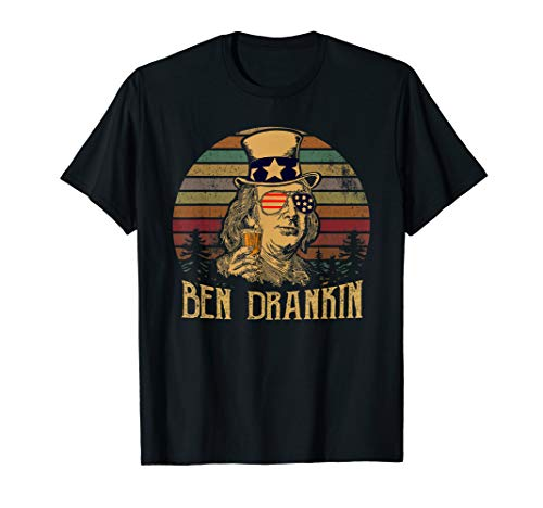 Funny Vintage Ben Drankin 4th OF July T Shirts Uncle Sam Hat