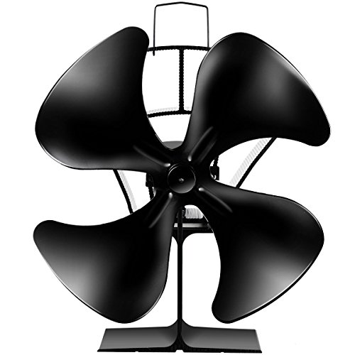 COSTWAY 4-Blade Heat Powered Stove Fan Multi-Function Fuel Saving Wood Burning Eco Fan for Wood/Log Burner/Fireplace/Laptop Computer with Micro USB Cord Black ()