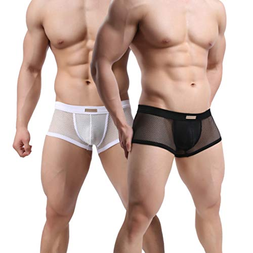MuscleMate UltraHot Men's See-Through Underwear, Hot Men's See-Through Underpants,Top Quality. (S, A Pair of 2 Colors)