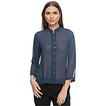 Sana'A Kayum Persian Blue Georgette Shirt For Women