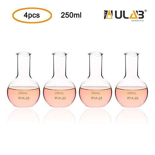 ULAB Boiling Flask of Flat Bottom Set, 4pcs of Vol.250ml, Borosilicate 3.3 Glass Material, UBF1009