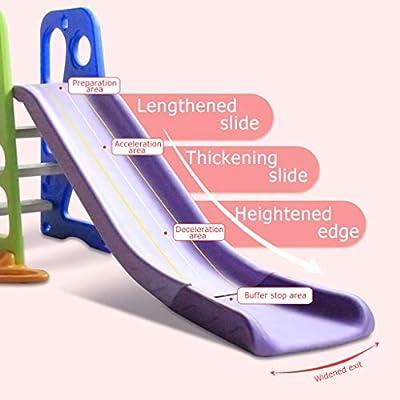6 in 1 Children Little Bear Swing Set Outdoor Playset, Toddler Climber Slide/Swing/Music/Basketball/Football/Baseball, Indoor Plastic Play Slide Climber for Kids, Easy Assembly (Multicolour): Beauty