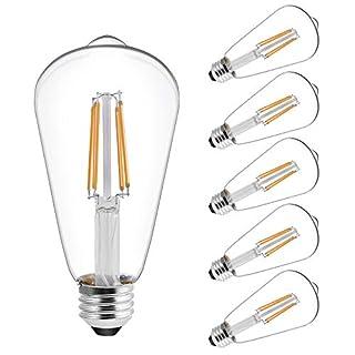 Vintage LED Edison Bulbs, 60 Watt Equivalent, (ST19/ST64) LED Filament Bulbs, CRI 95+, Soft White 2700K, Non-Dimmable, E26 Standard Base, UL Listed, 6 Pack