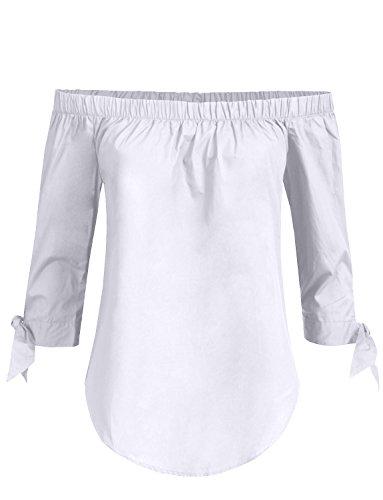 NE PEOPLE Womens Elegant Tied 3/4 Sleeve Open Shoulder Blouse Top for $<!--$16.98-->