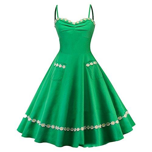 Topfly Rétro Style Robe Audrey Hepburn Bulle Swing Sangle Spaghetti Rockabilly Nous Vert S / Tag Asiatique S Vert