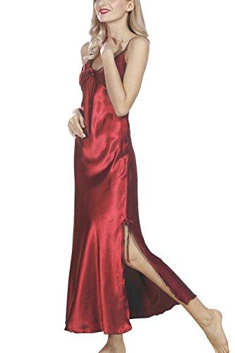morbida Camicia da Camicia Pigiami di spaghetti biancheria amp; Babydoll Dolamen Donna Pizzo della Pigiama notte Notte Rosso della sexy Luxury cinghia lunga Chemise Raso in da wIgqCAd