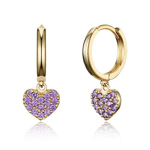 14k Gold Plated Brass Purple Heart Plain Huggy Baby Girls Hoop Earrings