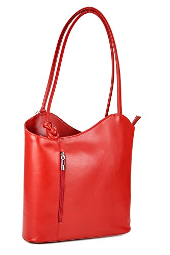 Bolso italiano de piel Belli,mochila Belli, para mujer, mochila de piel, en diferentes colores, de piel fina, 28 x 28 x 8cm (ancho x alto x fondo) rojo - rojo