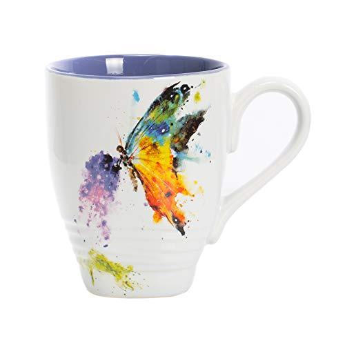 DEMDACO Kaleidoscope Butterfly Watercolor Blue 16 Ounce Glossy Stoneware Mug With Handle (Cups Pretty Coffee)