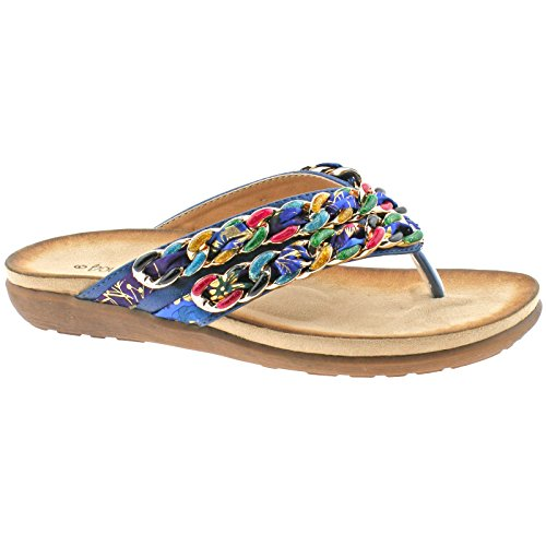 SLIP KD BOULEVARD 40 L9572C FABRIC LINK BLUE ON 7 POST TOE UK SANDALS MULTI LADIES EU ZPqXdvFXw