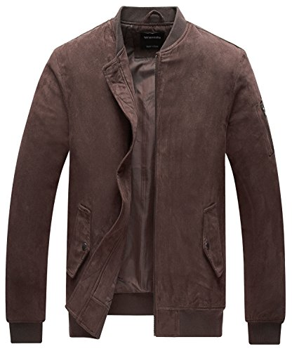 Wantdo Quilted Bomber Jacket Padded Warm Windproof Zip-Front Outdoor Baseball Collar Coat Coffee (Mens Brown Bomber)