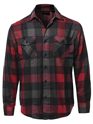 Casual Flannel Long Sleeves Plaid Checker Shirt Charcoal Wine Size 3XL