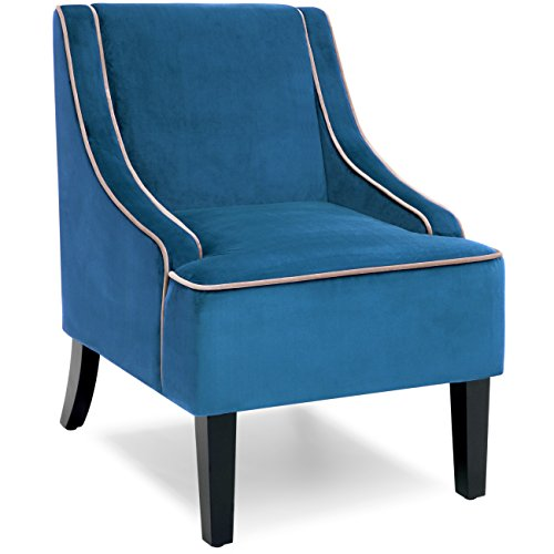 Best Choice Products Microfiber Accent Chair w/Tapered Wood Legs (Dark Blue) (Chair Stripped)