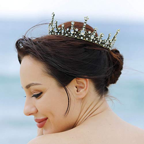 Barogirl Queen Crown Wedding Bridal Full Tiaras Vintage Opal Rhinestones Headband for Women (Bronze)