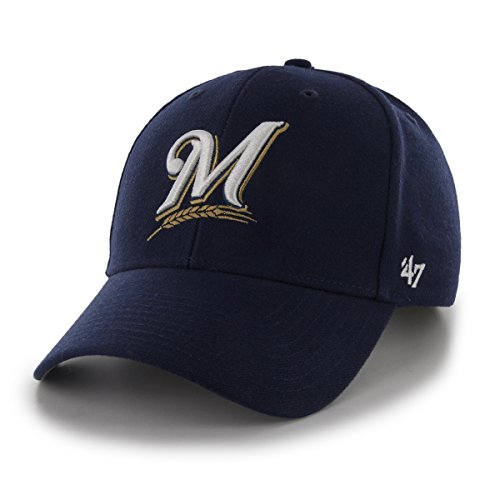 MLB Milwaukee Brewers Juke MVP Adjustable Hat, One Size, Navy-Home