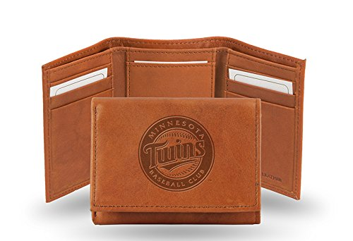 (MLB Minnesota Twins Embossed Genuine Cowhide Leather Trifold Wallet)