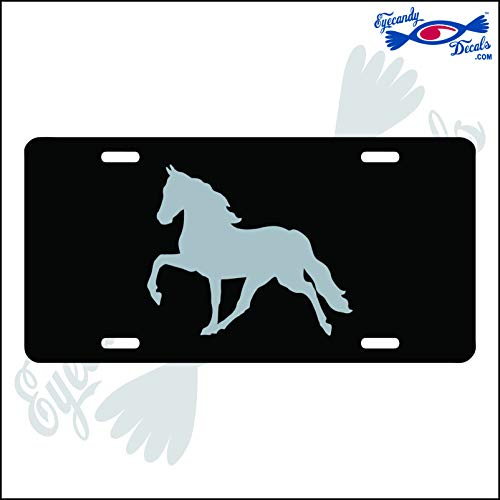 Eyecandy Decals Horse Prancing Silver on a Black Acrylic Mirror License Plate