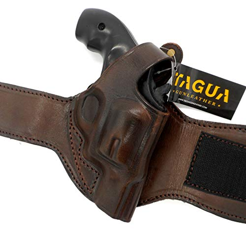 Ankle For Revolvers Holsters - HOLSTERMART USA TAGUA Premium Dark Brown Leather Ankle Holster for Smith & Wesson S&W J-Frame Revolver, 1-7/8