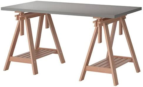 Ikea Linnmon Gray Desk Table 59×30 with 2 Birch Brown Wood Trestle Shelf Legs Height and Angle Adjustable, Drawing Table