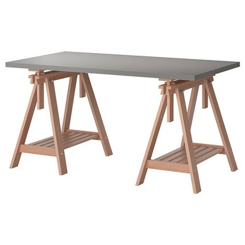 ikea linnmon gray desk table 59x30 with 2 birch brown wood trestle shelf legs height and angle. Black Bedroom Furniture Sets. Home Design Ideas