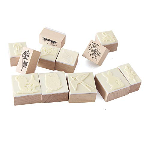 12pcs Wooden Rubber Stamps Animals and Plants Patterns Stamps Set for DIY Craft Card Scrapbooking Supplies by Co-link (Image #8)