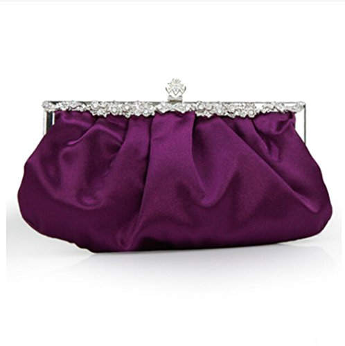 Cocktail Vintage Dark Purple Classic Purse Women��s Clutch Purple Prom Dark Wedding Bag Party Handbag Evening Rhinestones 4x7xOH