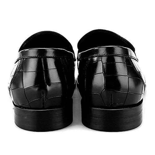 Slip Pelle Black Piatte Monk Business Scarpe Scarpe Dress On Formal Da Luminose In Guida Da Barca Da Scarpe MERRYHE Uomo Passeggio Da Wv8OT1Iqqn