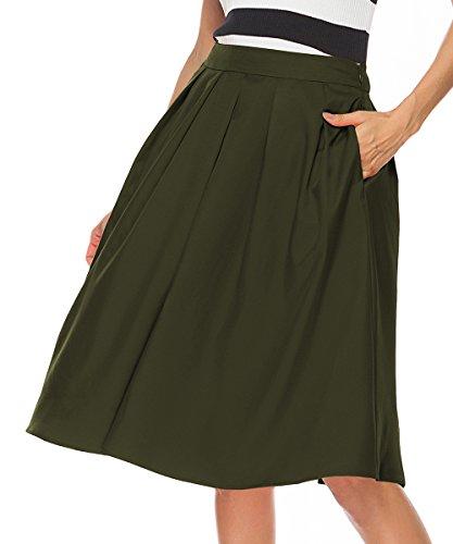 A-line Back Skirt Zip (REGAI Women's High Waisted A line Skirt Skater Pleated Full Midi Skirt Army green-S)