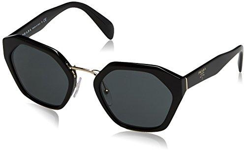 Prada Black (Prada PR04TS 1AB1A1 Round Sunglasses, Black, 55mm)