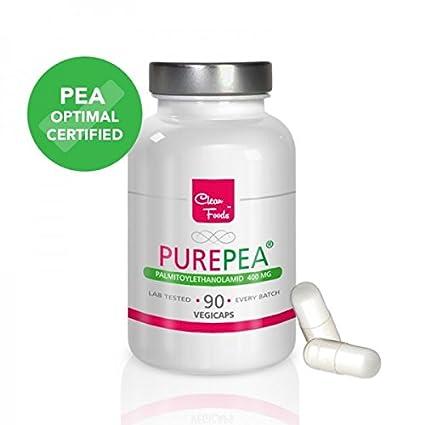 Pure Pea 90 Cápsulas Vegetales Palmitoylethanolamid 400mg Alta Dosis Clean Foods Certificados de Análisis Antiinflamatorio Analgésico