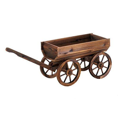 Cheap  Simple Design Outdoor Wooden Wine Barrel Wagon Garden Patio Decor