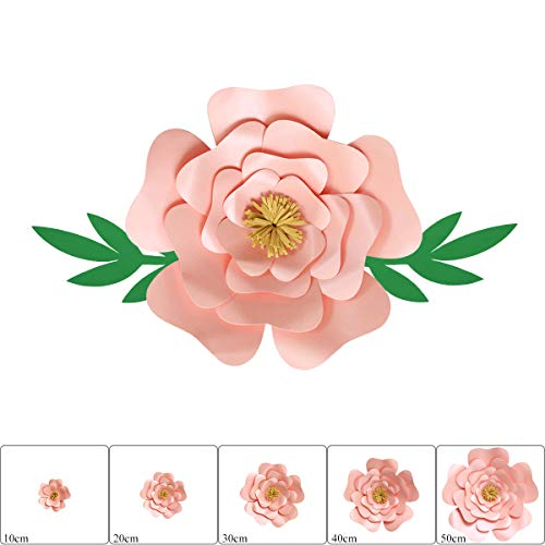 ONE PHOENIX Pearl Cardstock Crafts Handmade Paper Flowers for Baby Room Wall Decor, DIY Birthday Party Decoration, Unicorn Theme Ornament - 16 Inch x 1 - Pink Gold ()