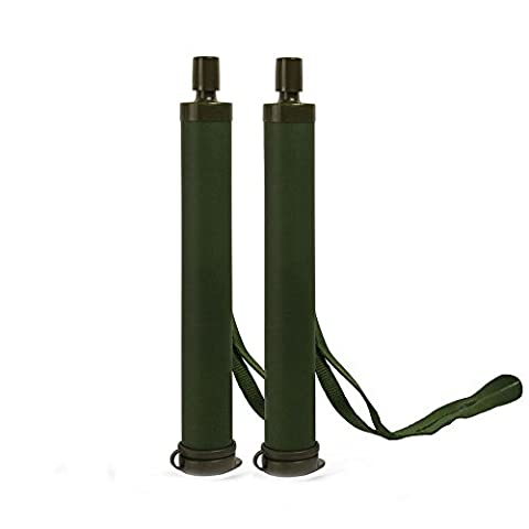 GESS Army Grade Emergency Water Straw with 15 Microns for 99.999% Purification Army Green (Military Water Purification)
