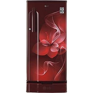 LG 188 L 3 Star Inverter Direct-Cool Single Door Refrigerator (GL-D191KSDX, Scarlet Dazzle, Base Stand with Drawer)