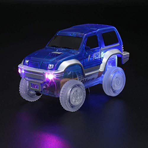2 car ONTOPON Magic DIY Track Accessory with 2 Toy Car Tunnel add LED Car