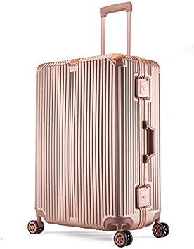 Maleta Trolley con Marco de Aluminio Maletas para Hombres y Mujeres Caja de contraseña Maleta de Viaje Rosa