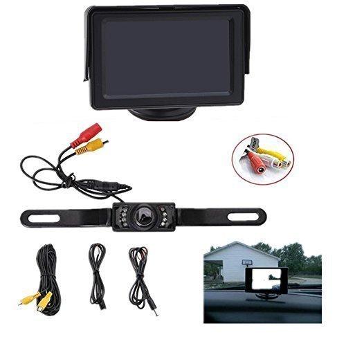 Backup Camera and Monitor Kit, AGPtEK Universal Waterproof Adjustable CMOS Rear-view License Plate Car Rear Dash...