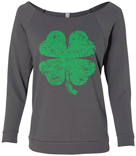 Threadrock Women's Distressed Green Four Leaf Clover Raw-Edge Raglan Shirt M Charcoal